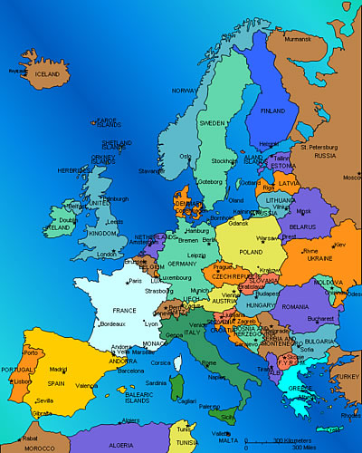 Map Of Europe - French map of europe
